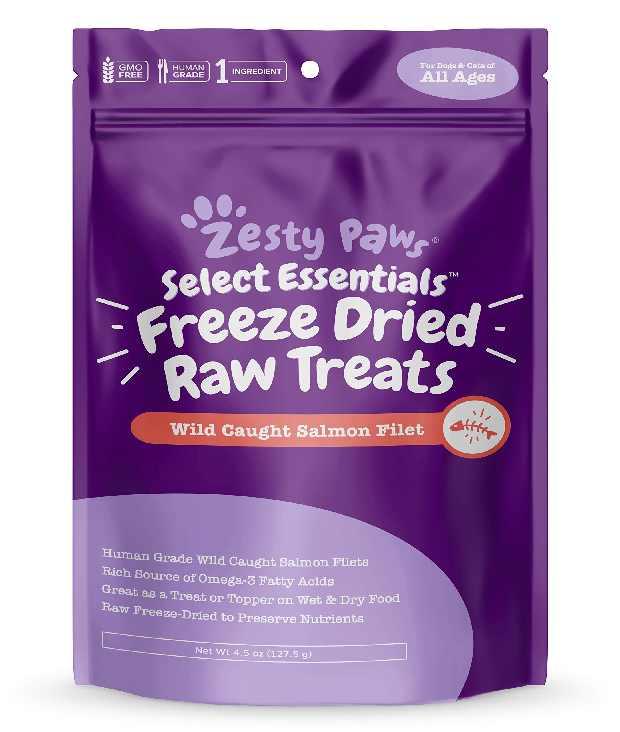 Freeze Dried Salmon Filet Treats for Dogs & Cats - with Pure Raw & Wild Caught Pacific Sockeye Salmon Fish - Omega 3 EPA + DHA Fatty Acids for Joint & Immune Support + Skin & Coat Health - 4.4 OZ by Zesty Paws