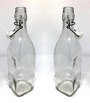 Sana cristal cuadrado hermético botella con tapón de cerámica y ...