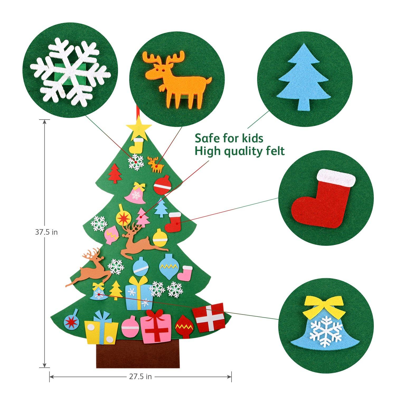 Amazon.com: 3Ft Felt Christmas Tree, 31 Detachable Christmas ...