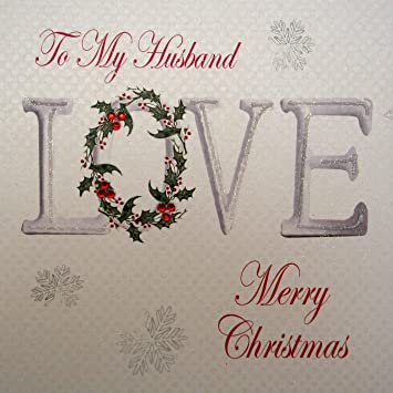 white cotton cards to my husband merry christmas handmade love card amazoncouk kitchen home - Merry Christmas Husband