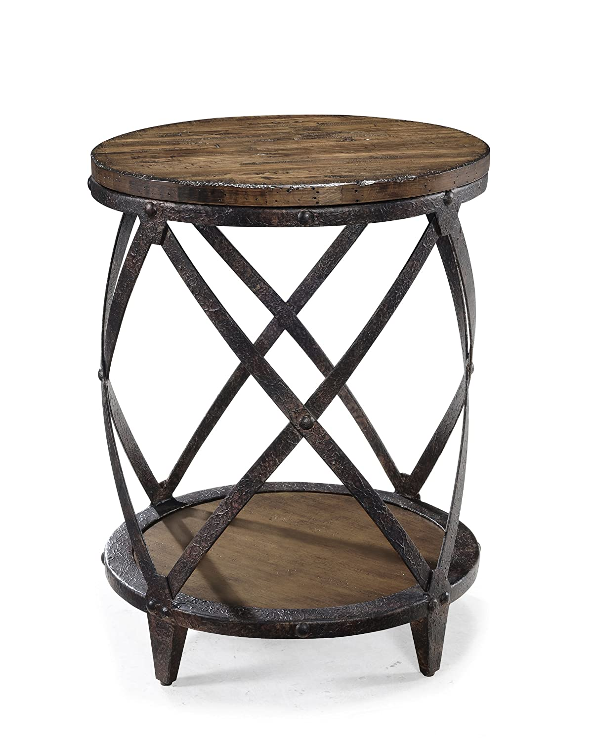Amazon.com: Magnussen T1755 Pinebrook Distressed Natural Pine Wood Round  Accent Table: Kitchen U0026 Dining