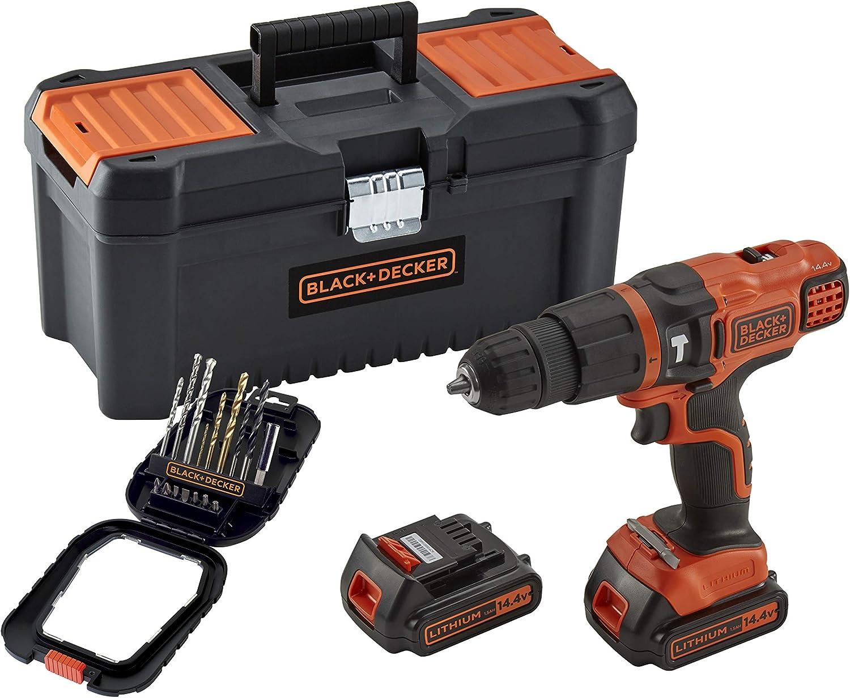 2 Batteries 14.4V 1 coffret daccessoires Livr/ée en boite /à outil 22 500 cps//min 36 Nm 1500 trs//min BLACK+DECKER BDK148BTA-QW Perceuse /à percussion sans fil