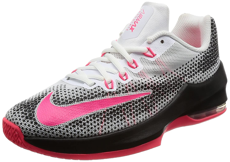 Nike Boy's Air Max Infuriate (GS) Basketball Shoe WhiteRacer PinkBlackWolf Grey Size 5 M US