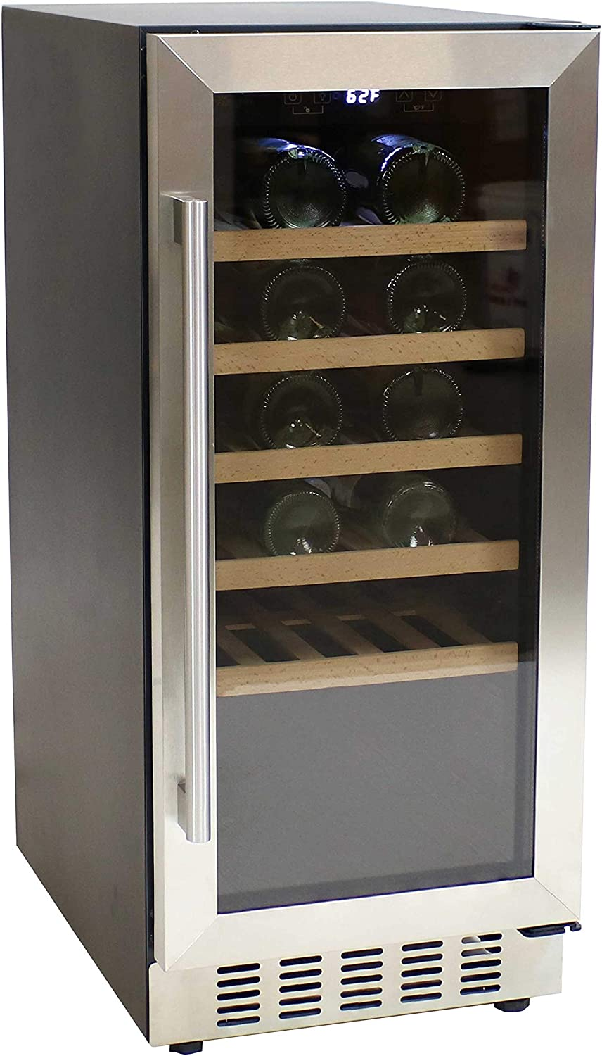 Sunnydaze Stainless Steel Beverage and Wine Cooler Single Zone Refrigerator with Sliding Wooden Shelves, Touchpad Temperature Control and LED Light - 33-Bottle Capacity