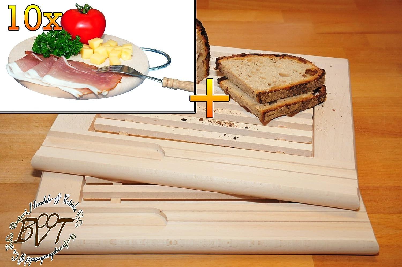 Buchen-Grill-Holzbrett mit Krümelfach ca. 24 mm Dicke natur 2 Stück, mit abgerundeten Kanten, Maße viereckig je ca. 36 cm x 29 cm & 10 mal Hochwertiges, dickes ca. 16 mm Buche-Grill-Holzbrett natur mit Metallhenkel, Maße rund ca. 25 cm Durchmesser als Bruschetta-Servierbrett, Brotzeitbrett, Bayerisches Brotzeitbrettl, NEU Massive Schneidebretter, Frühstücksbretter,