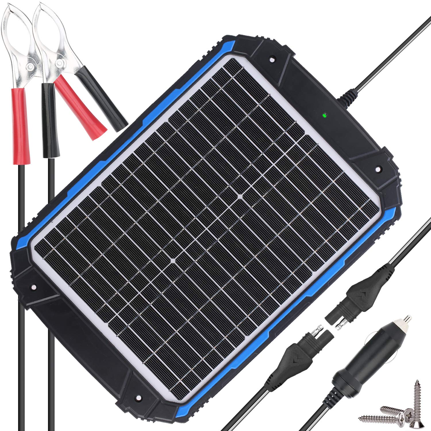 SUNER POWER Upgraded 12V Waterproof Solar Battery Charger & Maintainer Pro - Built-in Intelligent MPPT Charge Controller - 20W Solar Panel Trickle Charging Kit for Car, Marine, Motorcycle, RV, etc