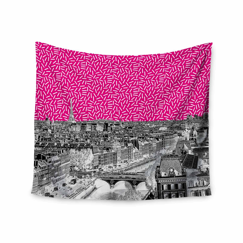 Kess InHouse Stephanie Eden Paris Pink Black Urban Pop Art Illustration Digital 68 x 80 Wall Tapestry