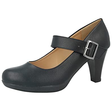1ef61381b8d5 Ladies Odgi Trends Leather Lined Black Low Block Heel Court Mary Jane Work  Comfort Shoes Size