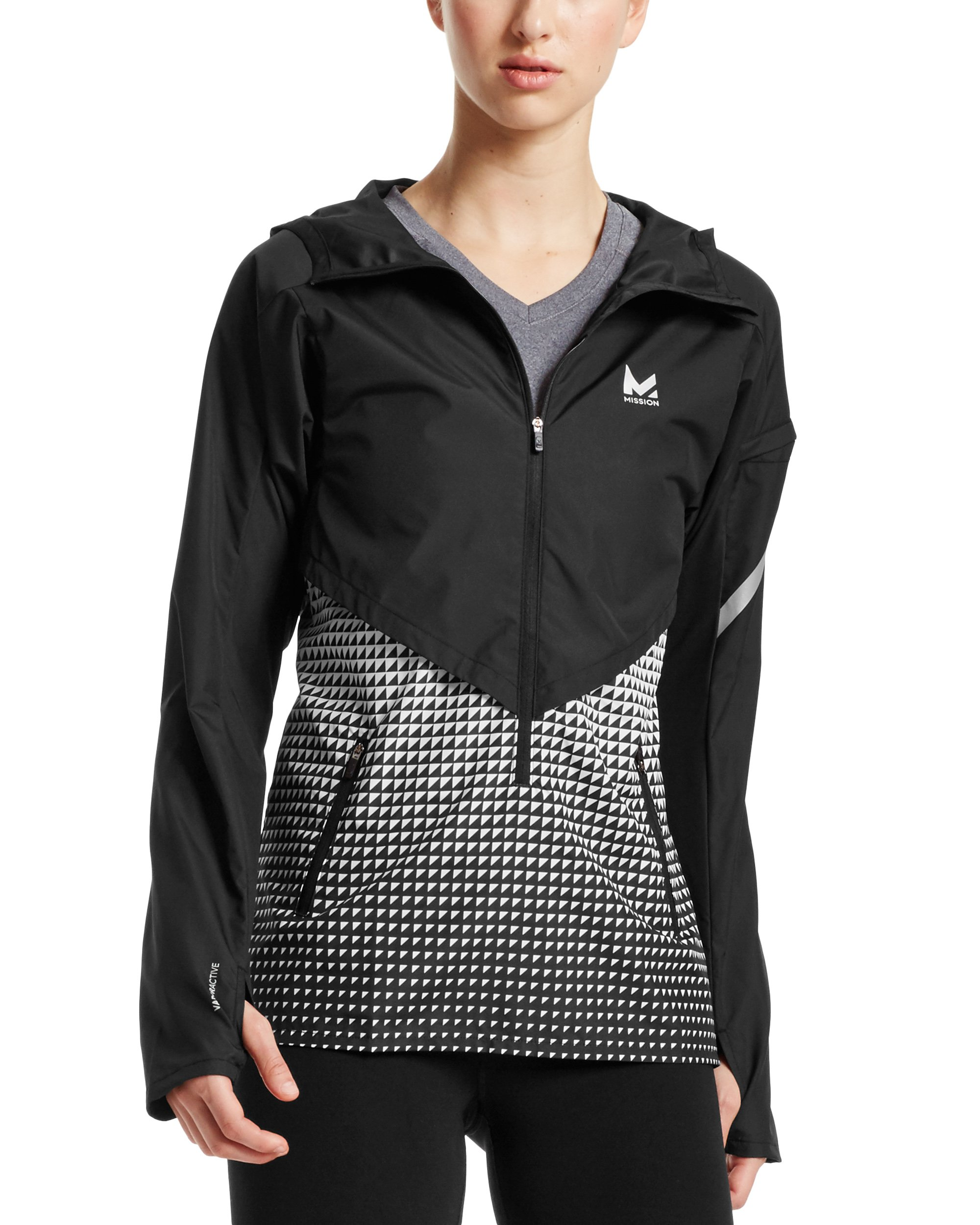 Mission Women's VaporActive Barometer Running Jacket, Moonless Night/Bright White Ombre, Small by MISSION (Image #1)