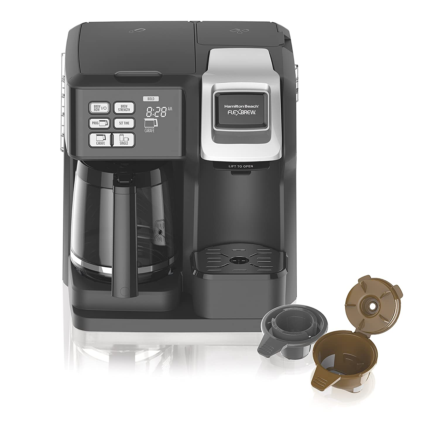 Hamilton Beach (49976) Coffee Maker, Single Serve & Full Coffee Pot, Compatible with K-Cup Packs or Ground Coffee, Programmable, FlexBrew, Black