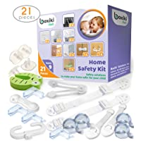 Boxiki kids Child Safety Kit (21 pieces) by 8 Corner Protectors, 4 Plug Protectors, 2 Anti-Tip Furniture Straps, 1 Door Stopper and 6 Child Safety Locks. Full Baby Proofing Kit