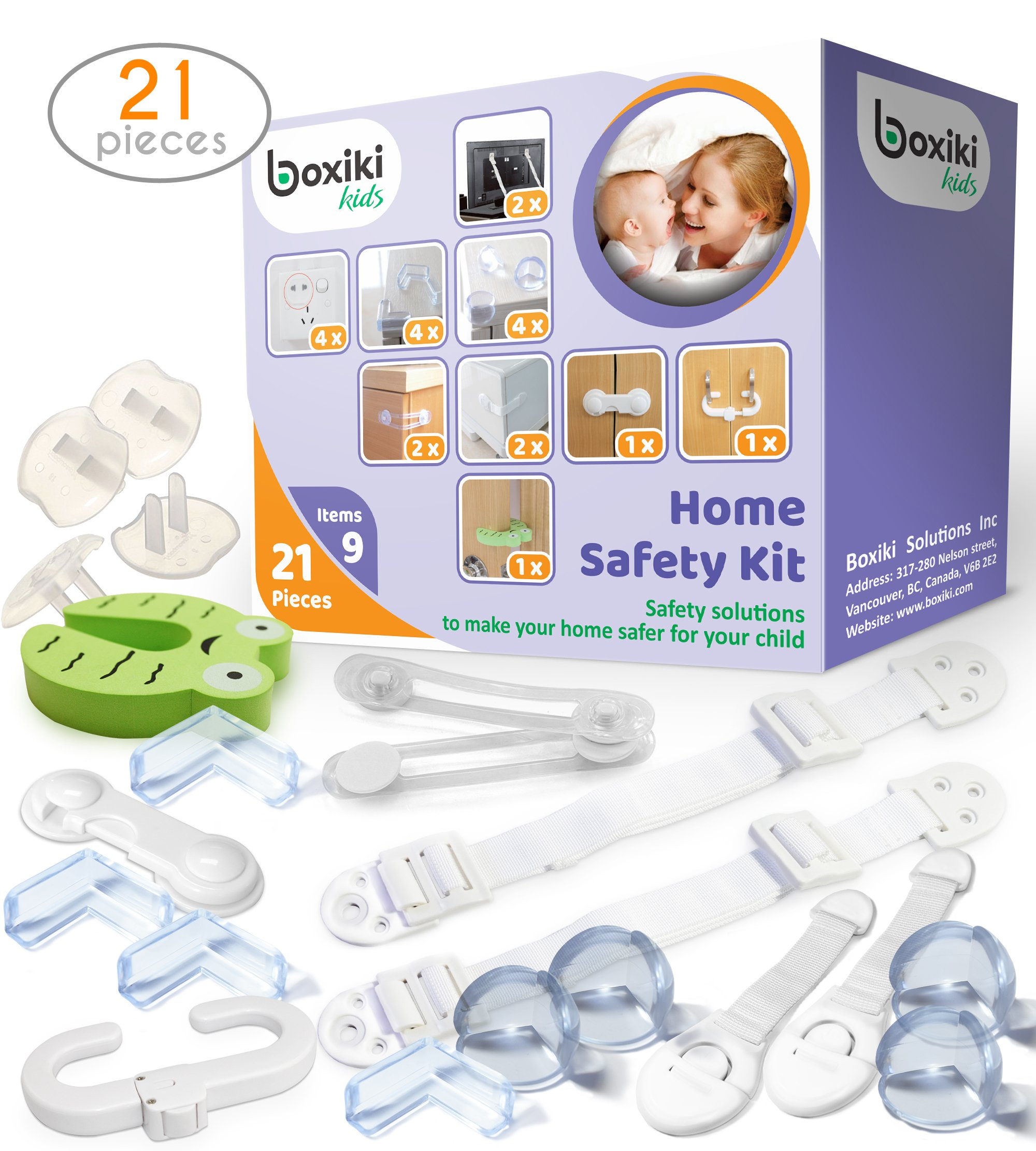 Child Safety Kit (21 Pieces) by Boxiki Kids. 8 Corner Protectors, 4 Plug Protectors, 2 Anti-Tip Furniture Straps, 1 Door Stopper and 6 Child Safety Locks. Full Baby Proofing Kit