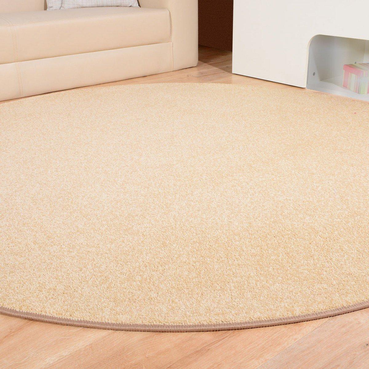 Havatex Teppich Kräusel Velour Burbon rund - 16 16 16 moderne sowie klassische Farben   schadstoffgeprüft pflegeleicht & robust   ideal für Wohnzimmer, Farbe Rot, Größe 180 cm rund B00FQ10F4E Teppiche 9292cd