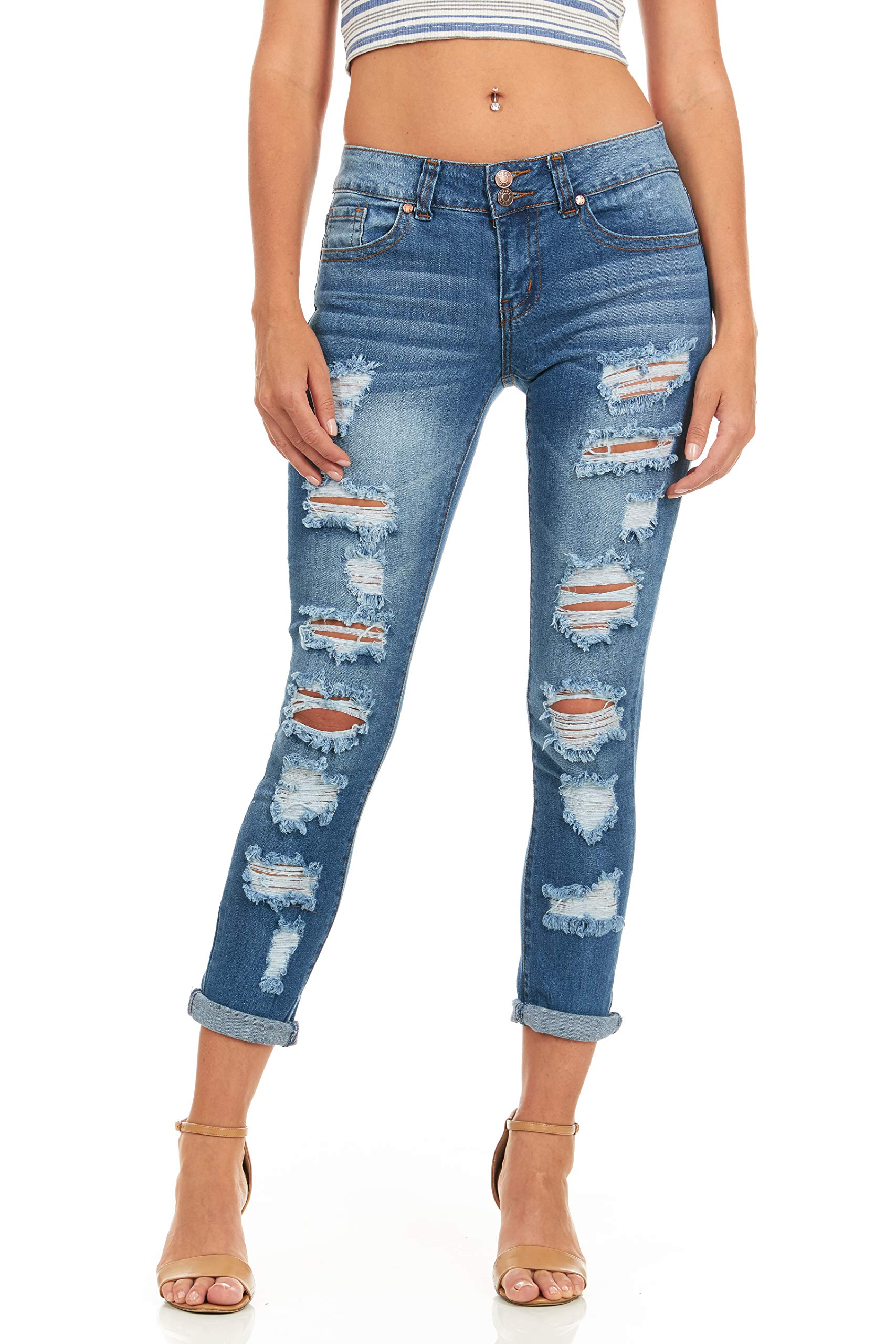 Cover Girl Skinny Ripped Jeans for Women Distressed Blue, Electric, 15 by Cover Girl (Image #5)