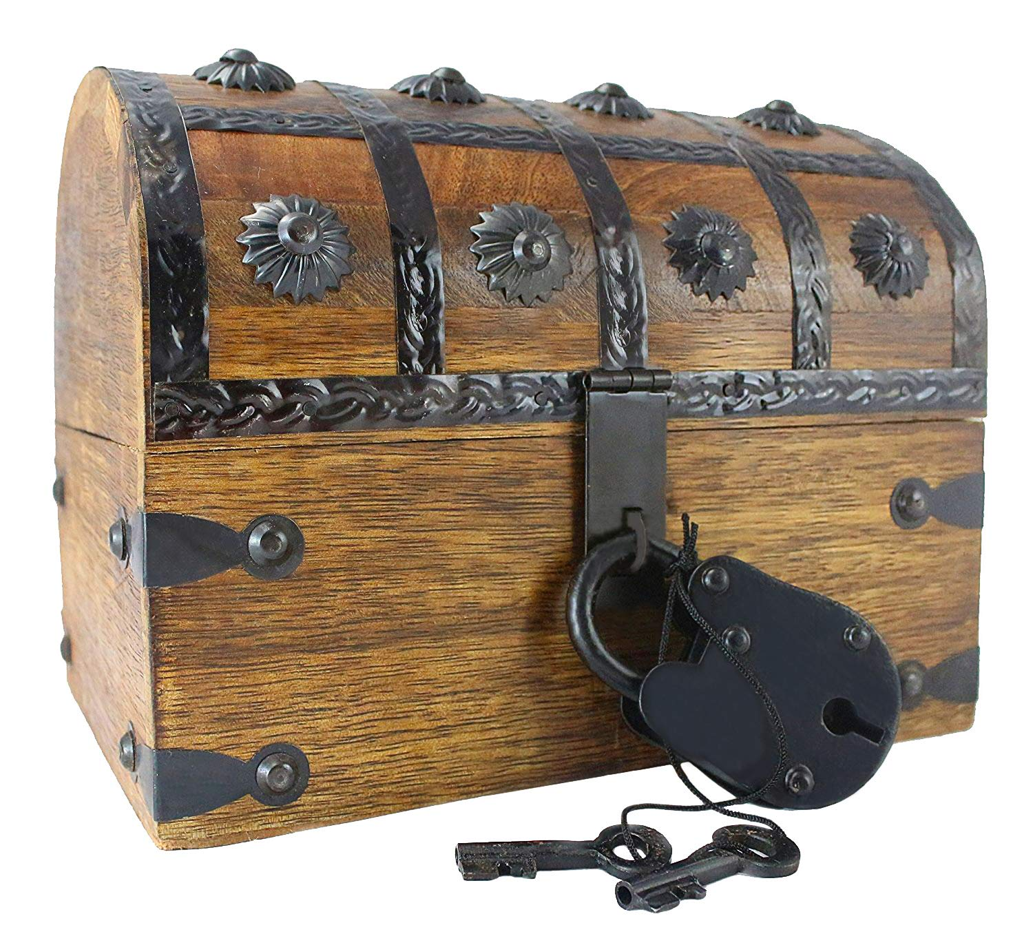 """Well Pack Box Wooden Pirate Treasure Chest 8"""" x 6"""" x 6"""" Box Blackbeard Model Authentic Antique Style With Black Hasp Latch Includes Master Lock & Vintage Skeleton Keys"""
