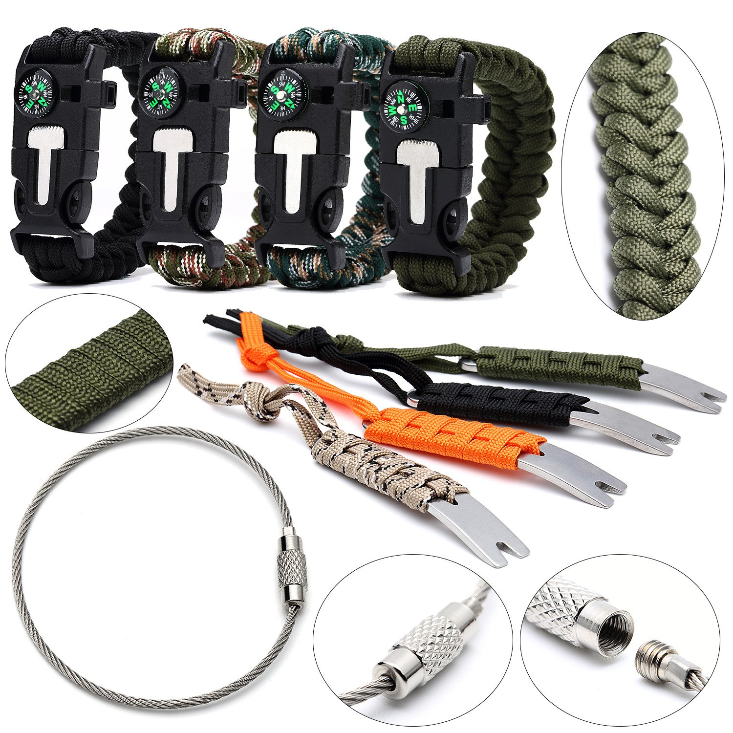 Survival Paracord Bracelet with Compass (4) + Mini Crowbar (4) - Stainless Steel Wire Keychain Cords (20) - Braclet Featurees Flint Fire Starter + Emergency Knife & Whistle