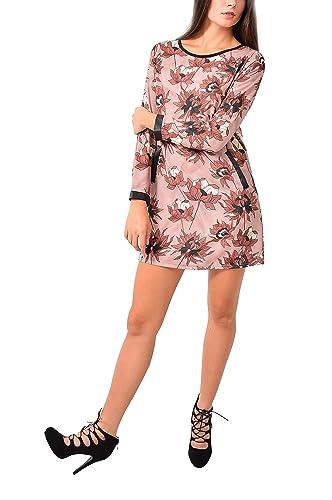 VILLAGGIOWEAR Made in Italy Vestito Cipria Fantasia Bordo Ecopelle Abbigliamento Moda Donna