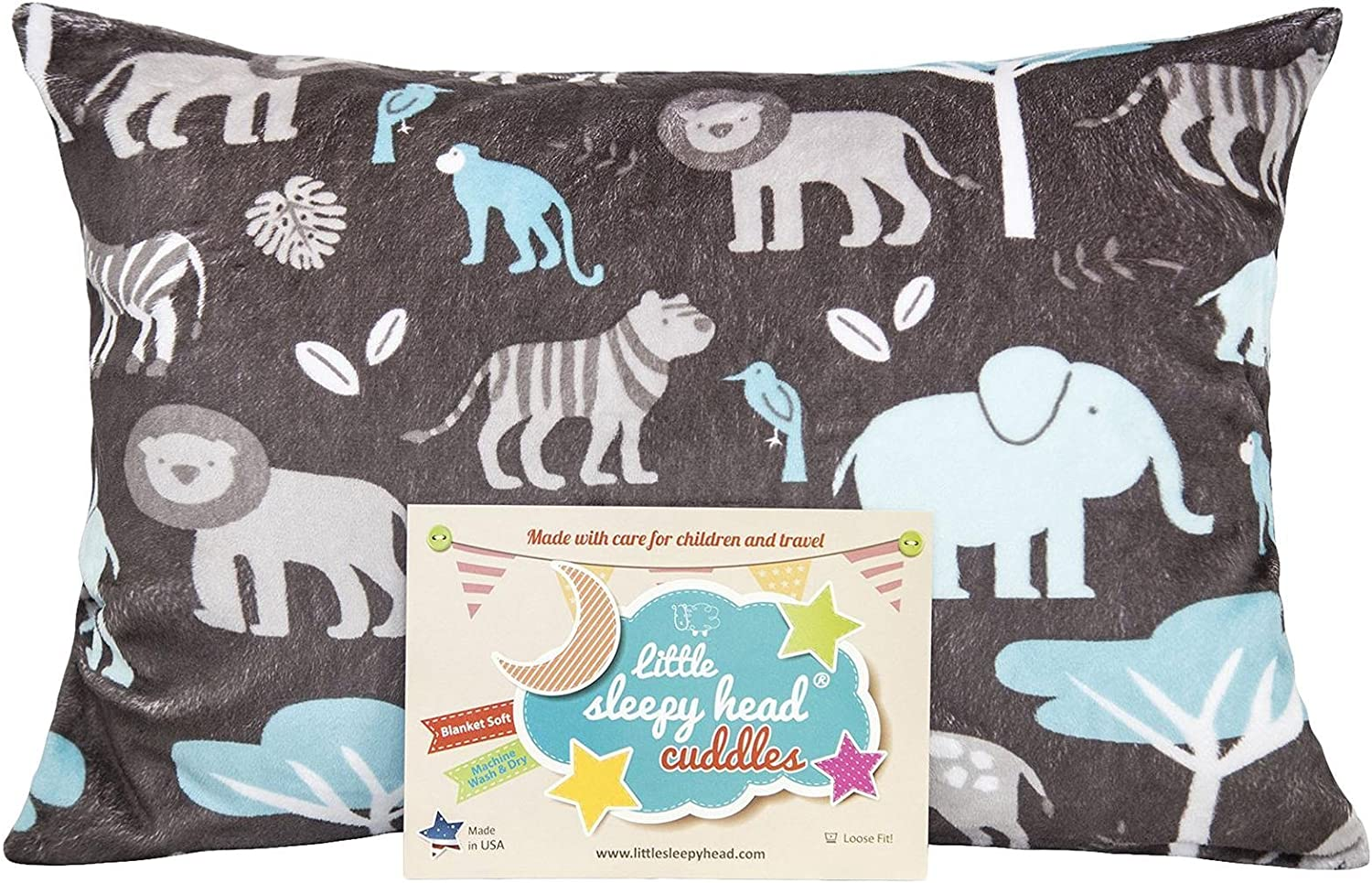 "Little Sleepy Head Toddler Pillowcase Cuddle Collection (Jungle Blue), 13"" X 18"""