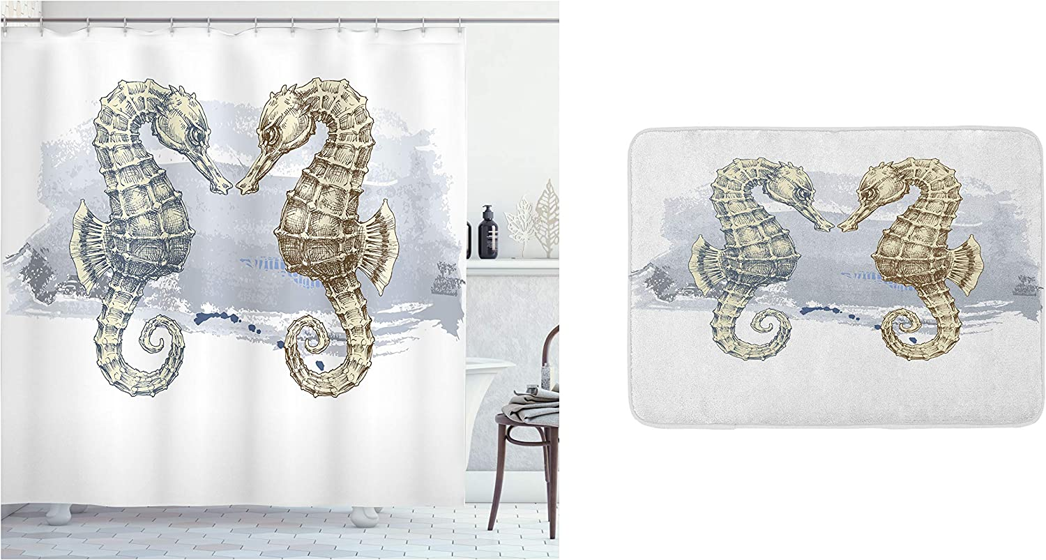 Ambesonne Animal Shower Curtain & Bath Mat Bundle, Seahorse Lovers in Paintbrush Artisan Technique Grunge Splash on Background, Set of 2 with a Bathroom Drape and Plush Mat for Decor, Gray Cream