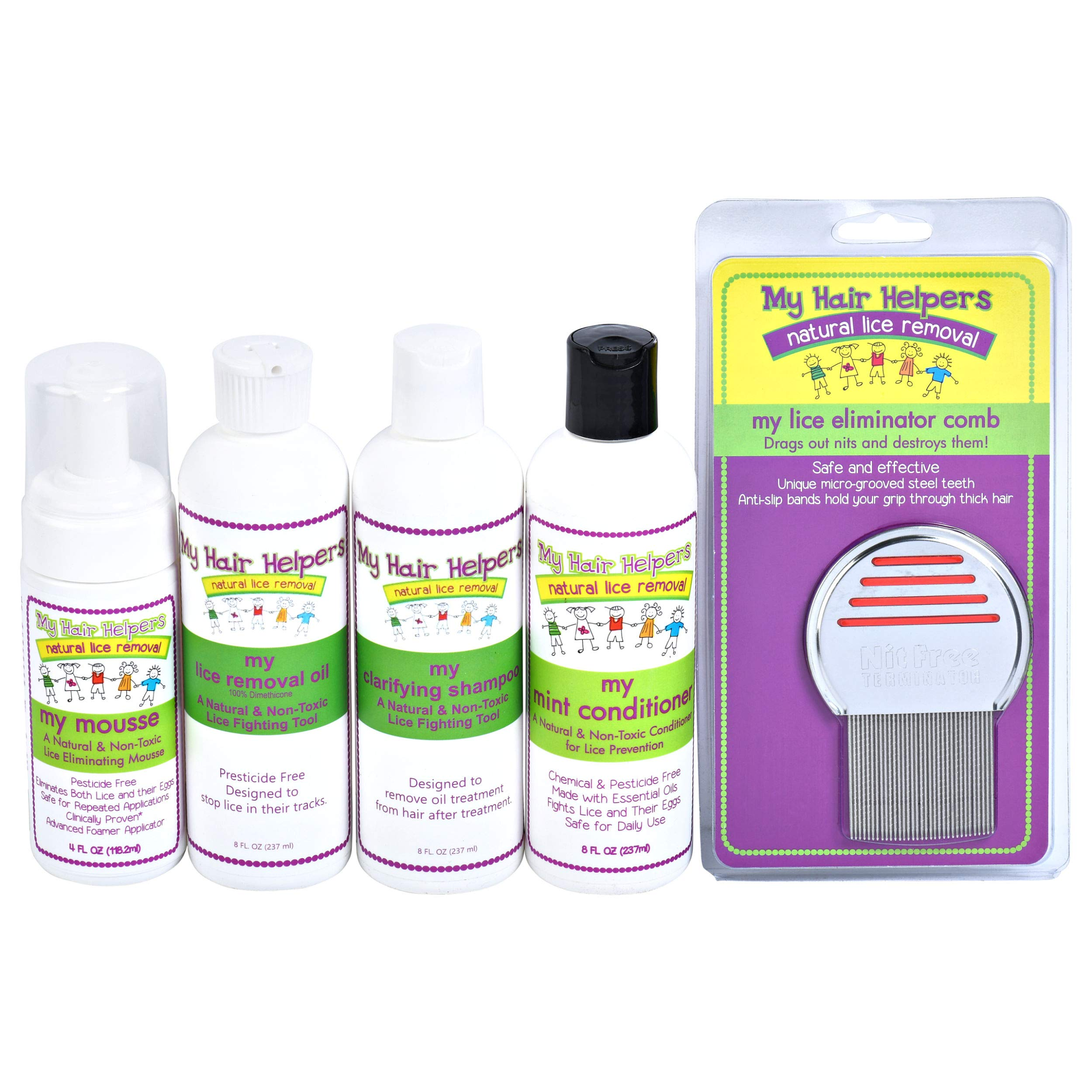 Complete Family Lice Treatment Kit - Nit Removal Comb, Foam Mousse, Dimethicone Oil, Shampoo & Essential Oil Conditioner | Natural Pesticide-Free to Remove Eggs in Kids Hair Treats 2-3 Family Members by MY HAIR HELPERS NATURAL LICE REMOVAL