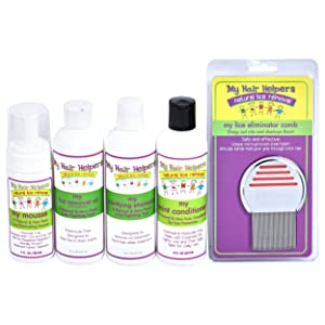 Complete Family Lice Treatment Kit - Nit Removal Comb, Foam Mousse, Dimethicone Oil, Shampoo & Essential Oil Conditioner | Naturally Formulated to Remove Eggs in Kids Hair Treats 2-3 Family Members