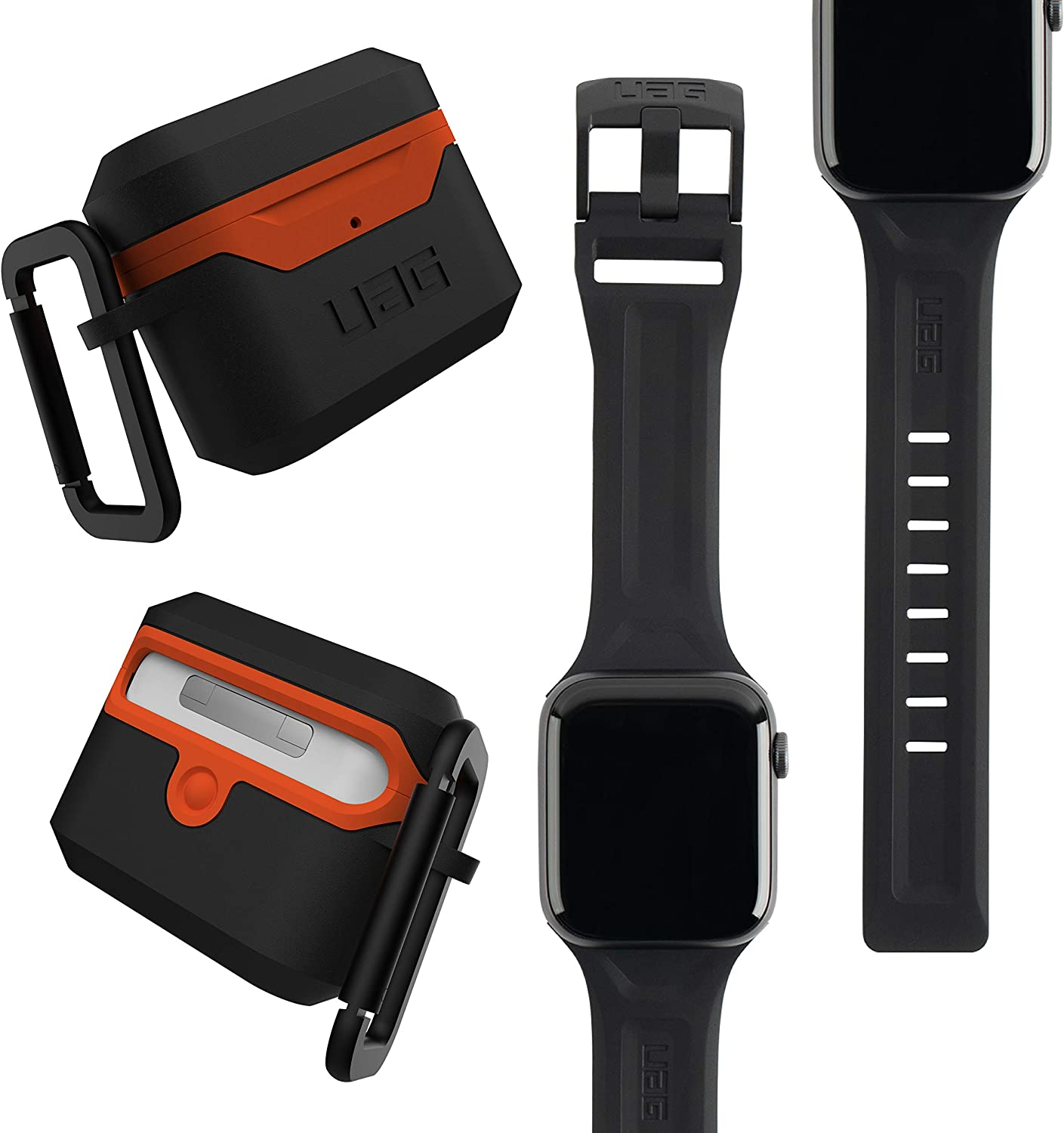 UAG Apple Watch Band 40mm 38mm, iWatch Series 6/5/4/Watch SE Replacement Strap, Scout Black + AirPods Pro Case with Detachable Carabiner, Black/Orange
