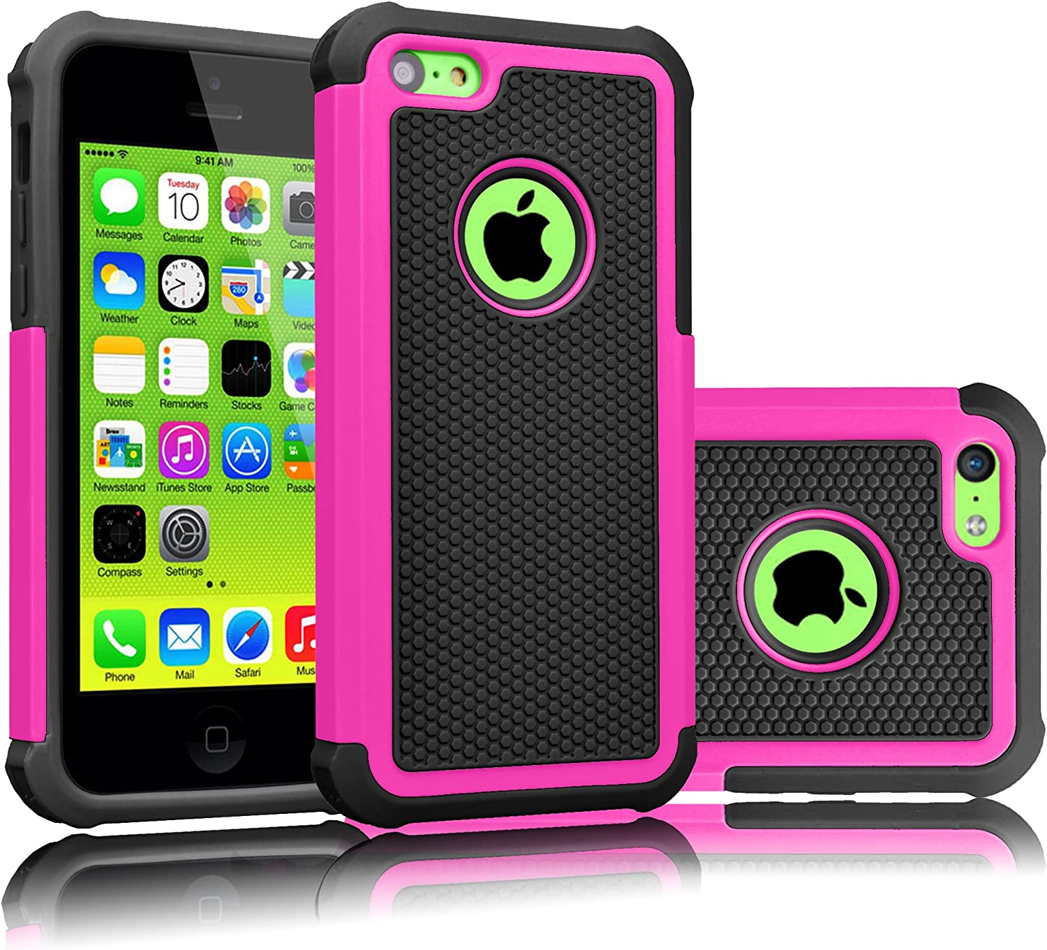 Tekcoo iPhone 5C Case, [Tmajor Series] [Hot Pink/Black] Shock Absorbing Hybrid Impact Defender Rugged Slim Case Cover Shell for Apple iPhone 5C Hard Plastic Outer + Rubber Silicone Inner