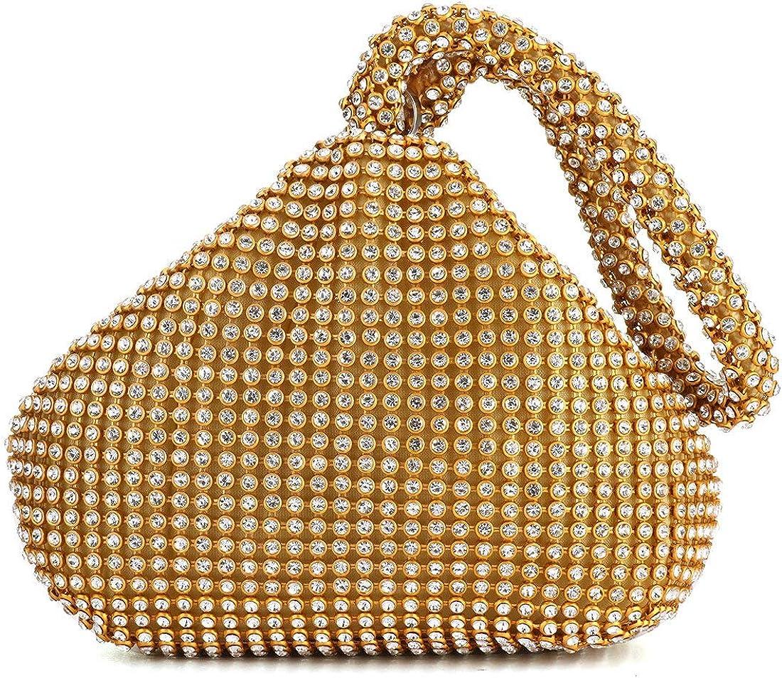 Evening Clutches Handbag Crystal Diamante Pouch Shaped Wrist Hand Bag Purse Bag
