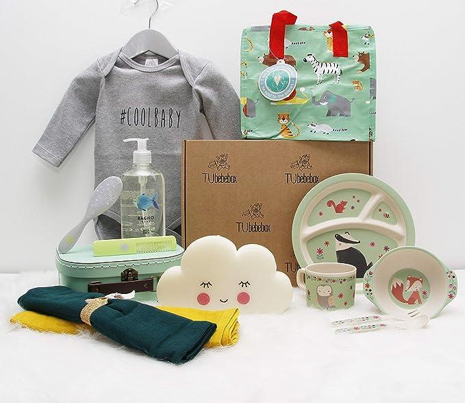 Canastilla bebé unisex Happy Baby - Cesta regalo bebé a partir de 6 meses - Incluye productos de cosmética, para la hora de comer y más productos ...