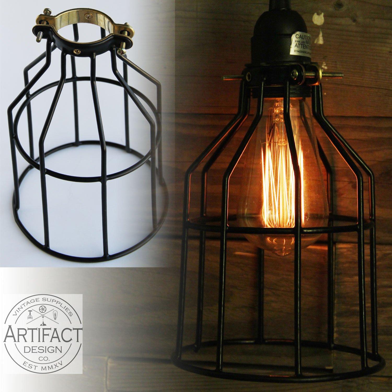 Set of 2 industrial vintage style top black light cage for pendant set of 2 industrial vintage style top black light cage for pendant light lamps amazon arubaitofo Gallery