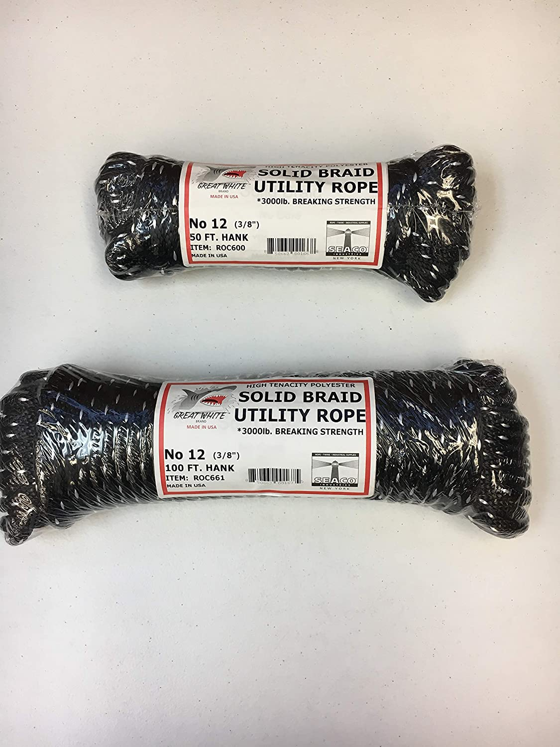 """Utility Rope, Utility Cord, Solid Braid 3/8"""" X 50 ft, Premium HIGH Tenacity Black w/White, 3, 000lb. TENSILE Strength, Tow-Derby-EQUSTRAIN-Indoor-Outdoor-Tow-Pulling-BATTTLE-Jump-Made in USA : Sports & Outdoors"""