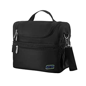 GYTE Insulated Lunch Bag | Large Lunch Box for Men and Women | Meal Prep Cooler Bag with 2 Compartments | Waterproof Adult Lunchbox Tote Includes Side Pocket for Drinks | 10 x 7 x 10 Inches