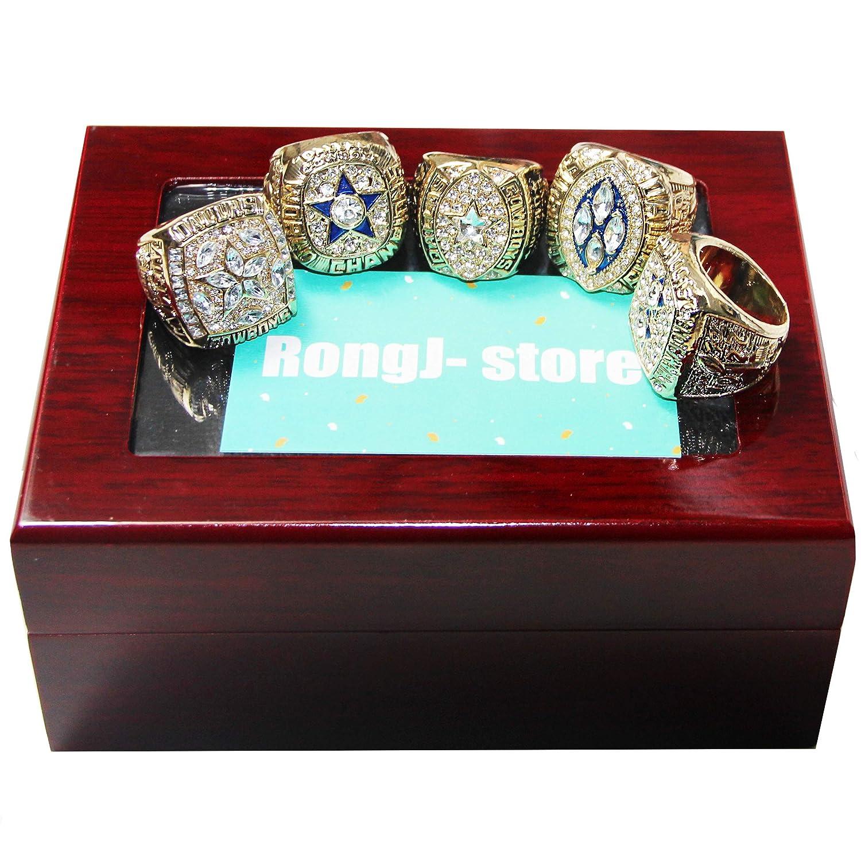 ゴールドダラスカウボーイズ スーパーボウルチャンピオンシップリング フルセット チェリーウッドディスプレイボックス付き ファンへのギフトに 5個 B07MTXSL81