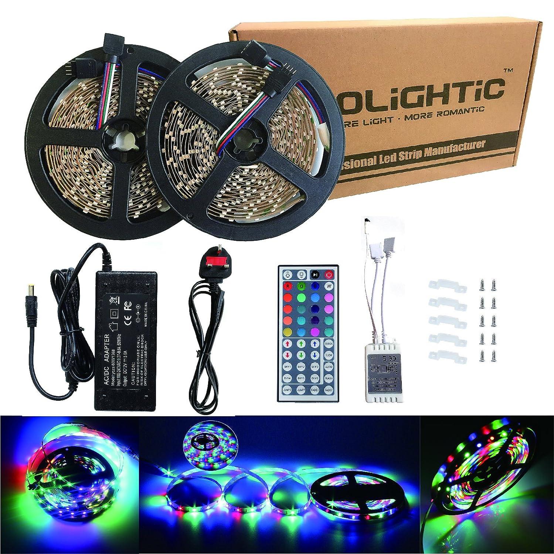 rolightic led strip lights 10m 2 rolls 600leds smd3528 rgb led rh amazon co uk