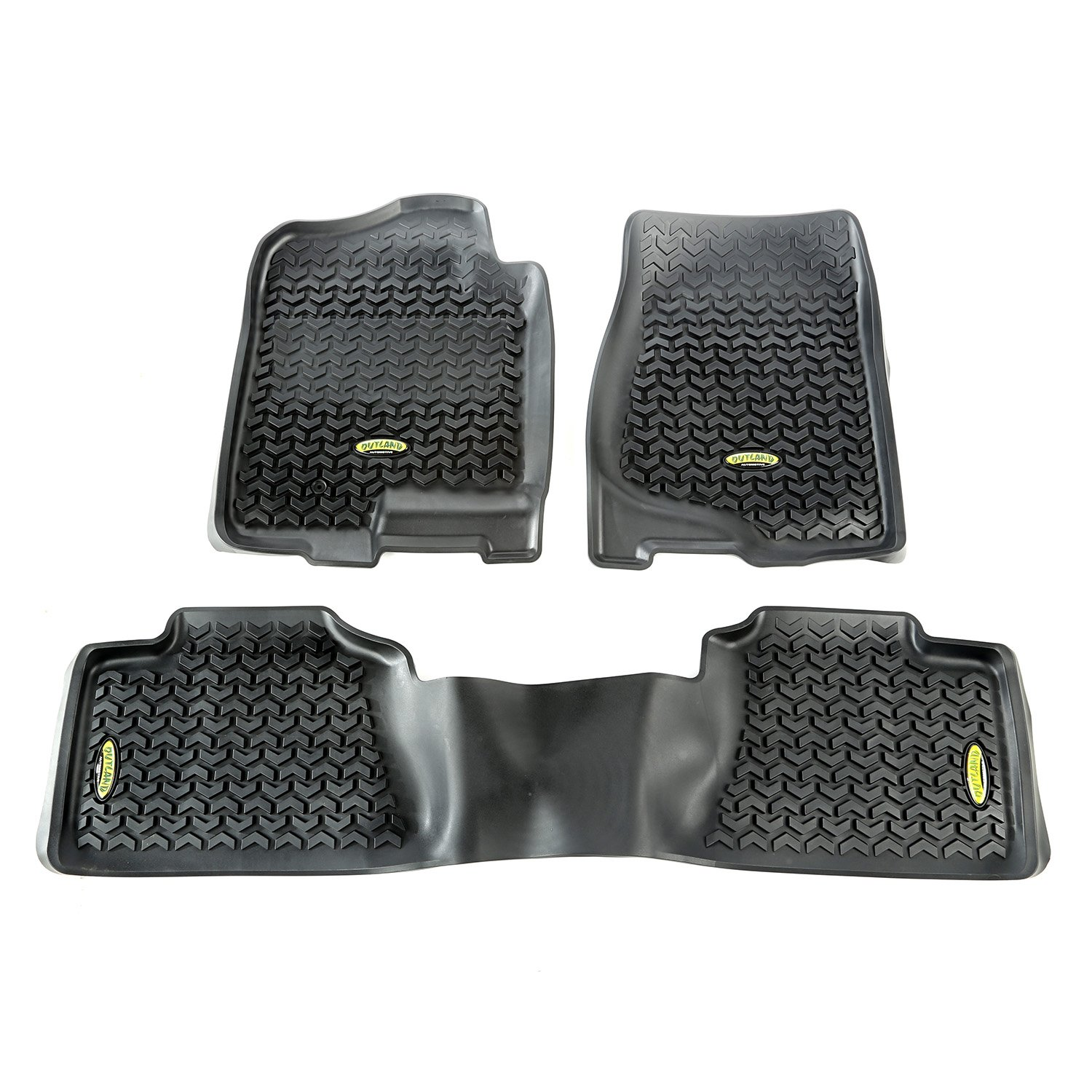 Outland 398298901 Black Front and Rear Floor Liner Kit For Select Chevrolet Avalanche Silverado GMC Sierra and Yukon Models Tahoe Suburban