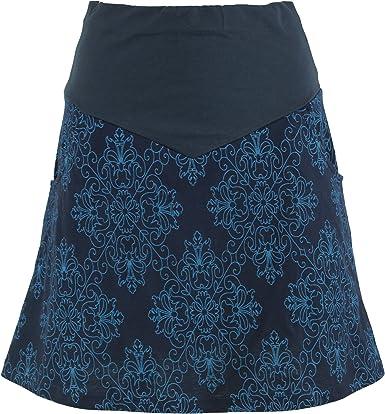 GURU-SHOP, Mini Falda, Falda Boho Plate Skirt Organic, Algodón ...