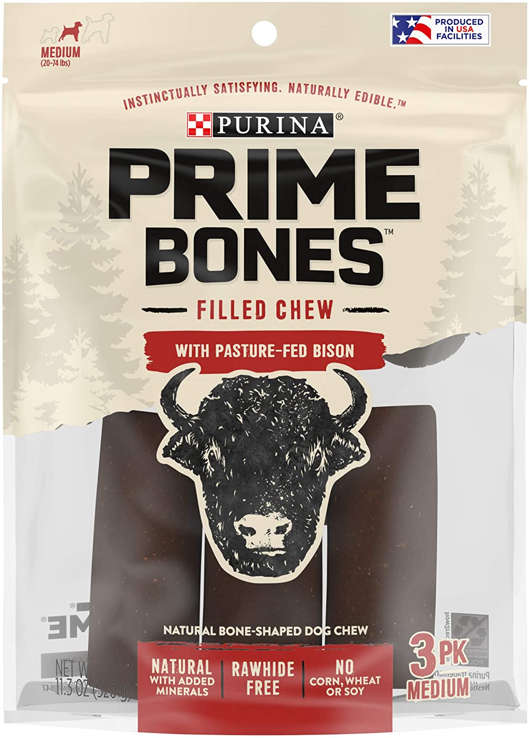 Purina Prime Bones Dog Bone, Made in USA Facilities, Natural Medium Dog Treats, Filled Chew with Pasture-Fed Bison - 11.3 oz. Pouch