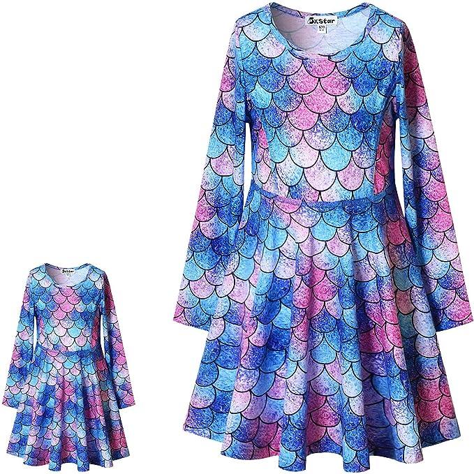 Jxstar Matching Girls/&Doll Dresses Fall Winter Long Sleeve Dress 18 inch Doll American Girls Clothes