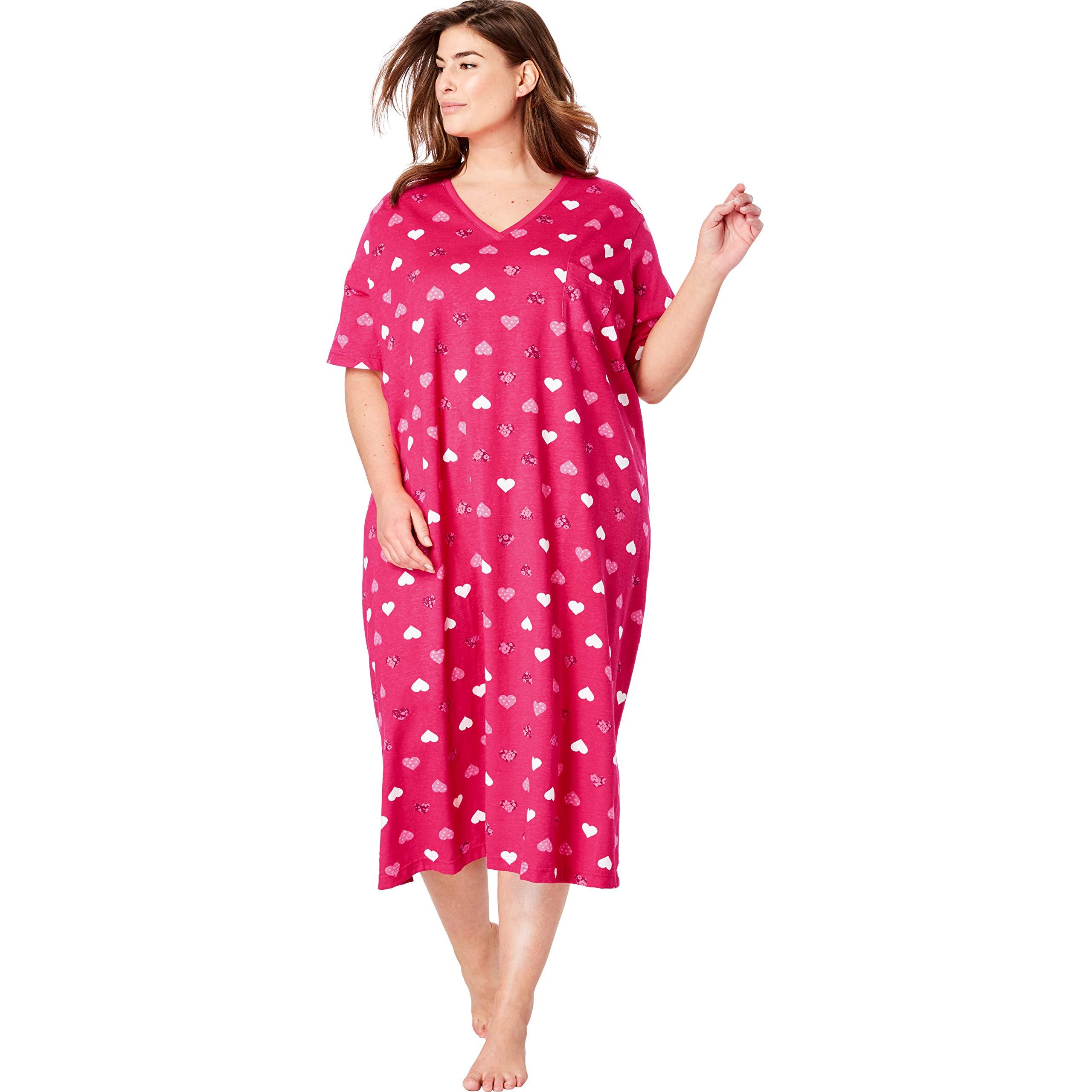 Dreams & Co. Women's Plus Size Long Print Sleepshirt - Radiant Pink Hearts, 1X/2X by Dreams & Co.
