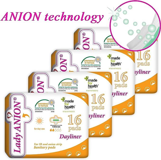 Lady Anion Salvaslips con alas, Algodón organico certificado – 4 x 16 I Compresas algodon: Amazon.es: Salud y cuidado personal