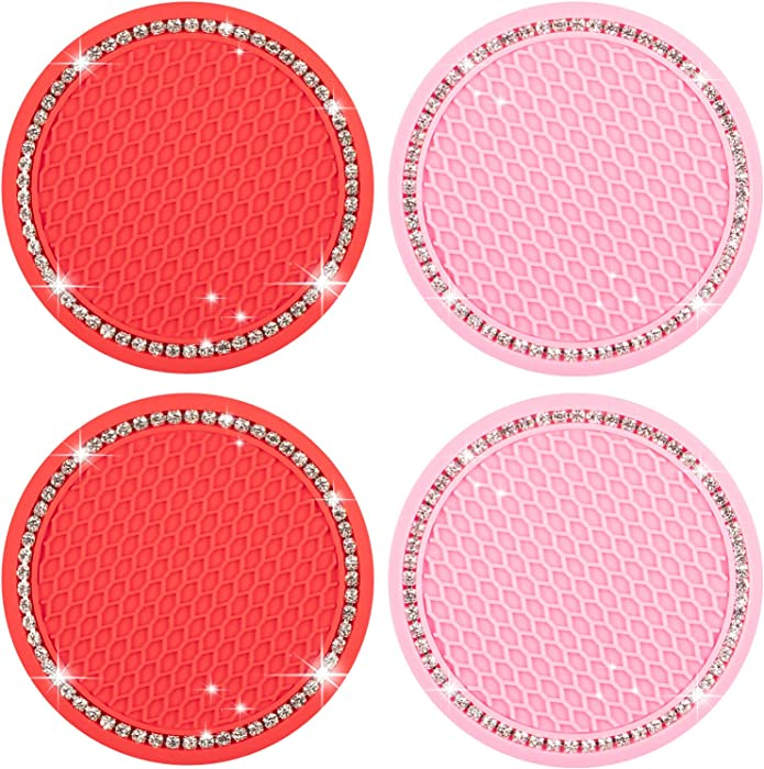 kiniza 4 Pack Car Cup Holder Coaster, 2.75 Inch Soft Rubber Pad Set Bling Car Cup Holders Rhinestone Car Interior Accessories for Keeping Auto Car Cup Holders Dry and Clean (Pink, Red)