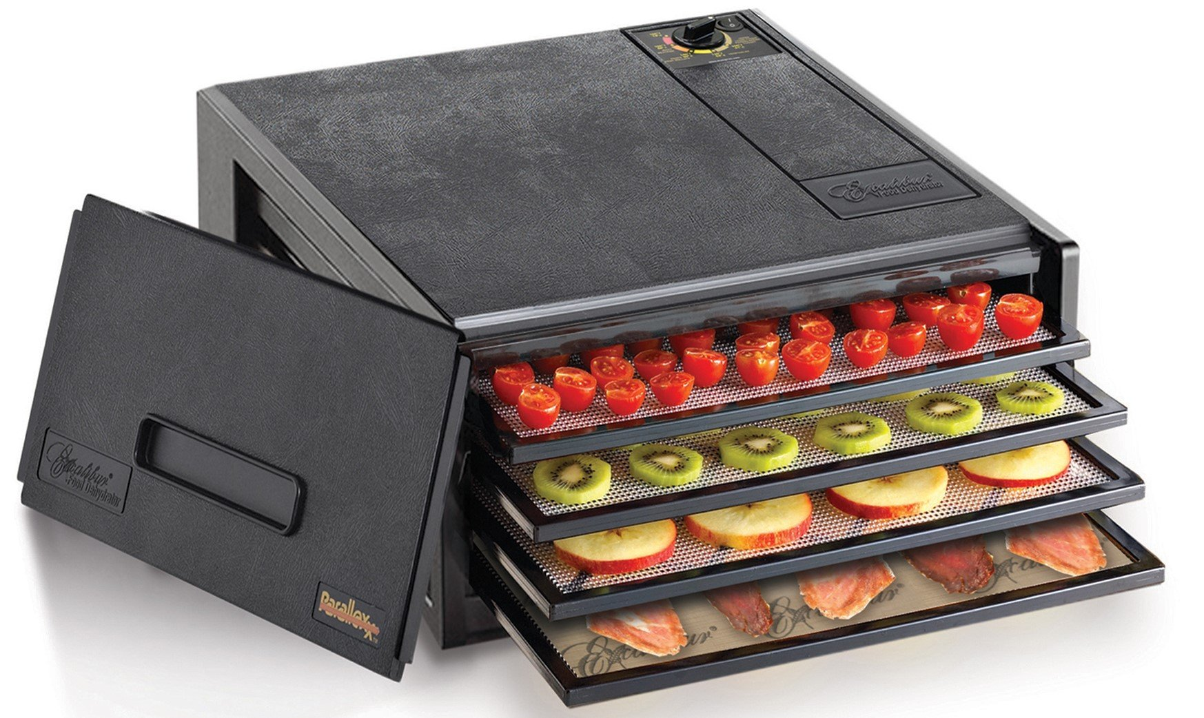 Excalibur 2400 4-Tray Electric Food with with Adjustable Thermostat Accurate Temperature Control Faster and Efficient Drying Includes Guide to Dehydration Made in USA Black