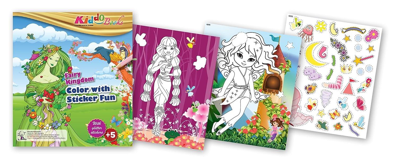 quac kduck Libro para Colorear Fairy Kingdom –  Color with Glitter Stickers –  Cuento Mundo –  Pintar y Cortar con Glitter Adhesivos –  Bloc para niñ os a Partir de 5 a&nt