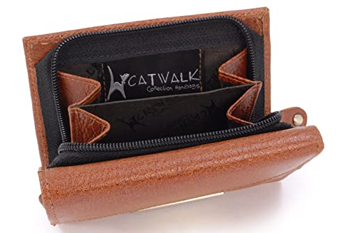 CATWALK COLLECTION - VICTORIA - Cartera - Cuero - Tostado - RFID: Amazon.es: Zapatos y complementos