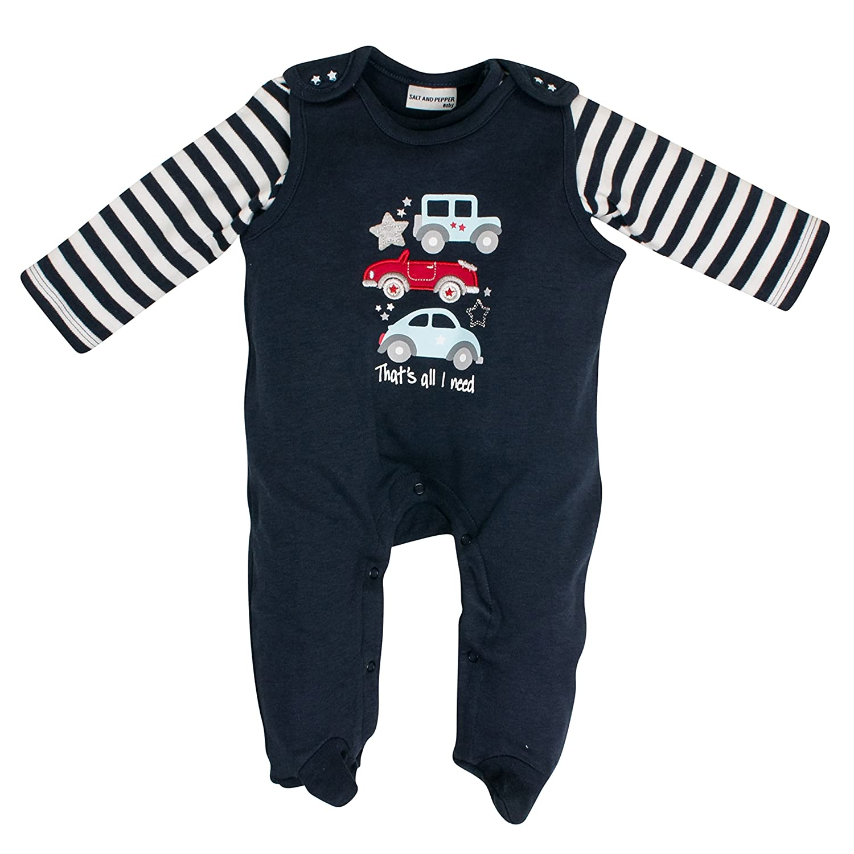 SALT AND PEPPER Baby-Jungen Strampler NB Playsuit Bear Uni Auto 85224104