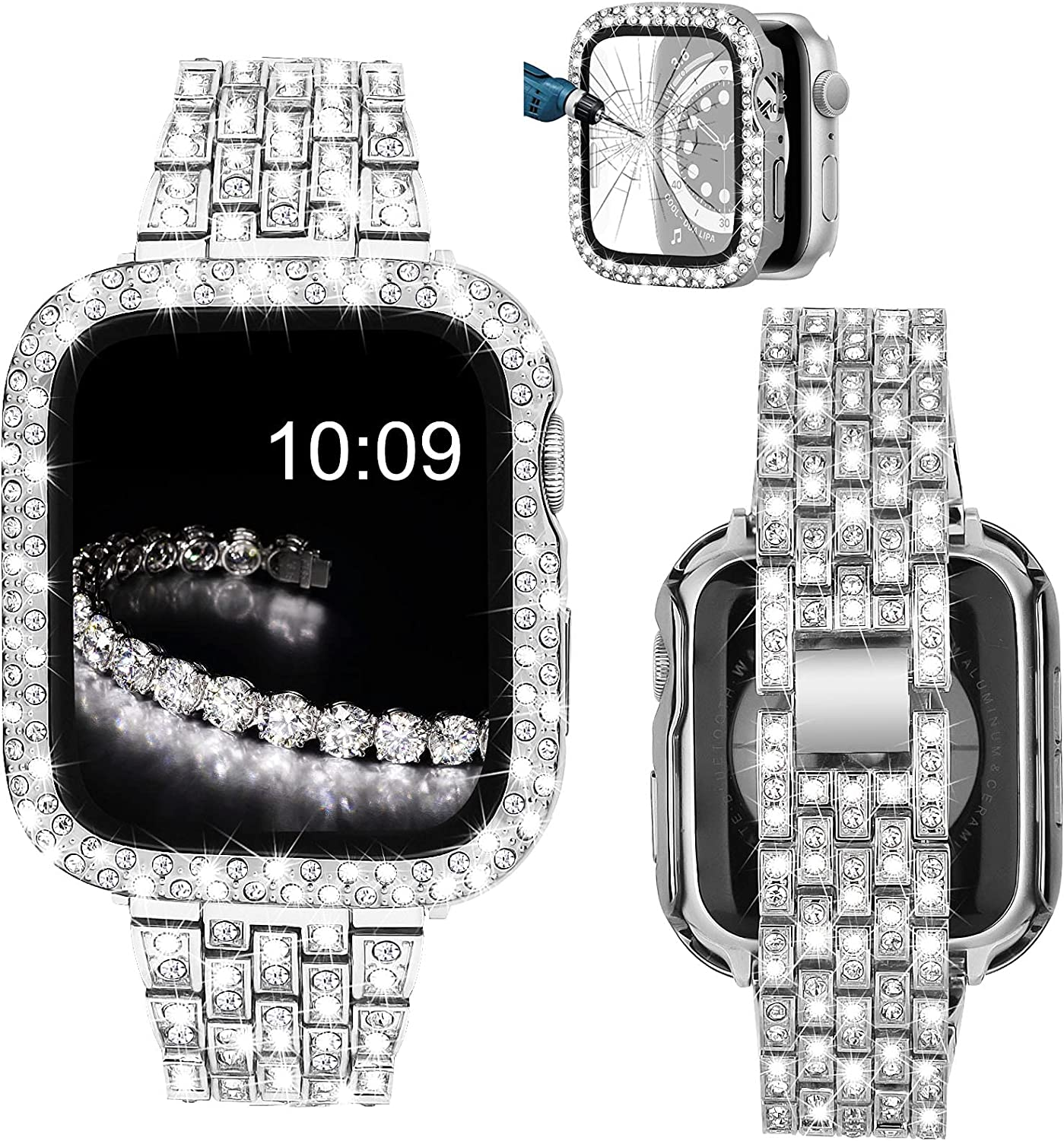 V-MORO Bracelet Compatible with Series 6 Apple Watch Band 40mm with Screen Protector Case, Jewelry Bling Diamond Metal Strap and Full Cover Protective Case for iWatch Series SE/5/4 40mm Women Silver