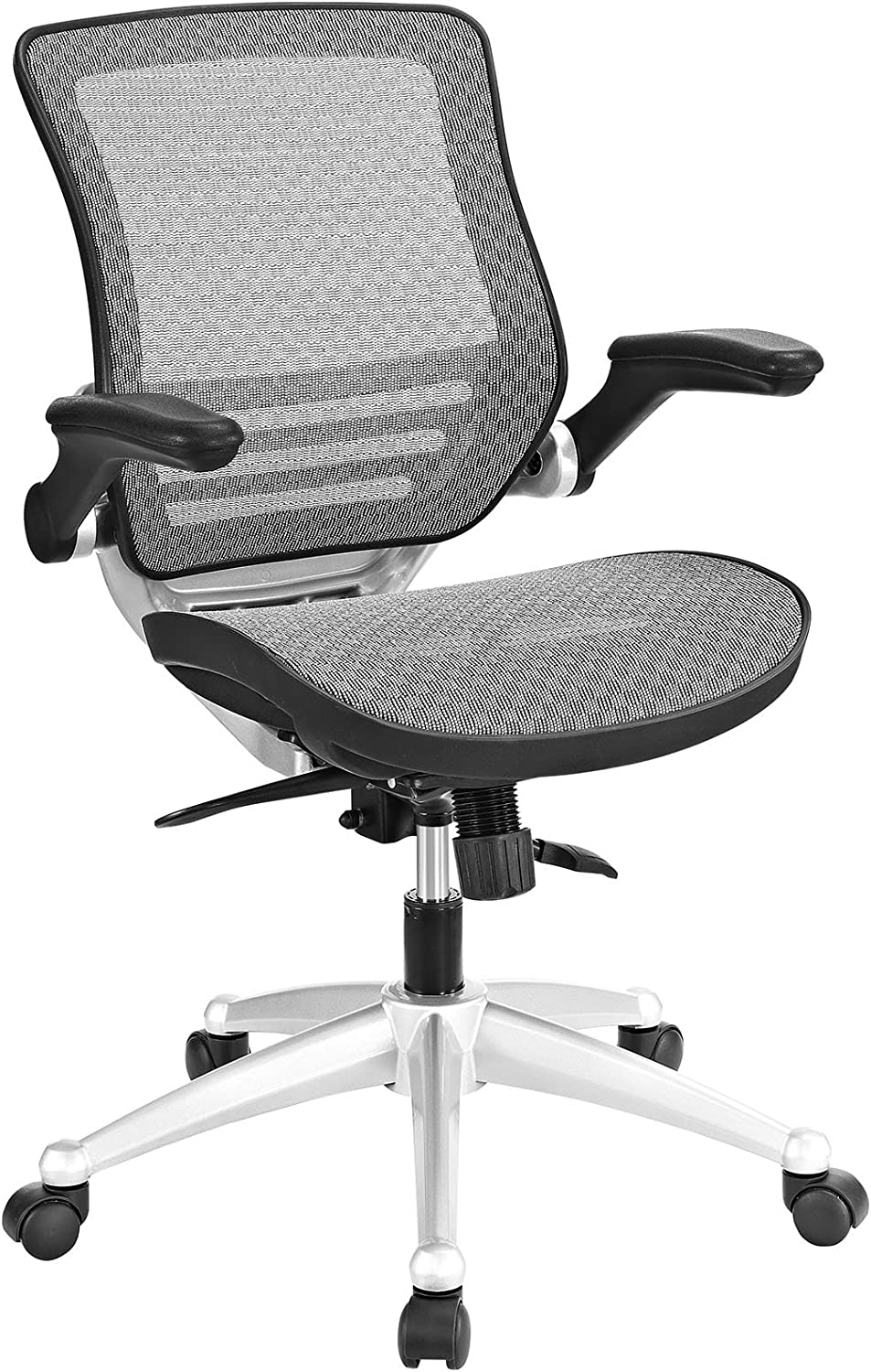 Modway Edge All Mesh Office Chair In Gray With Flip-Up Arms - Perfect For Computer Desks