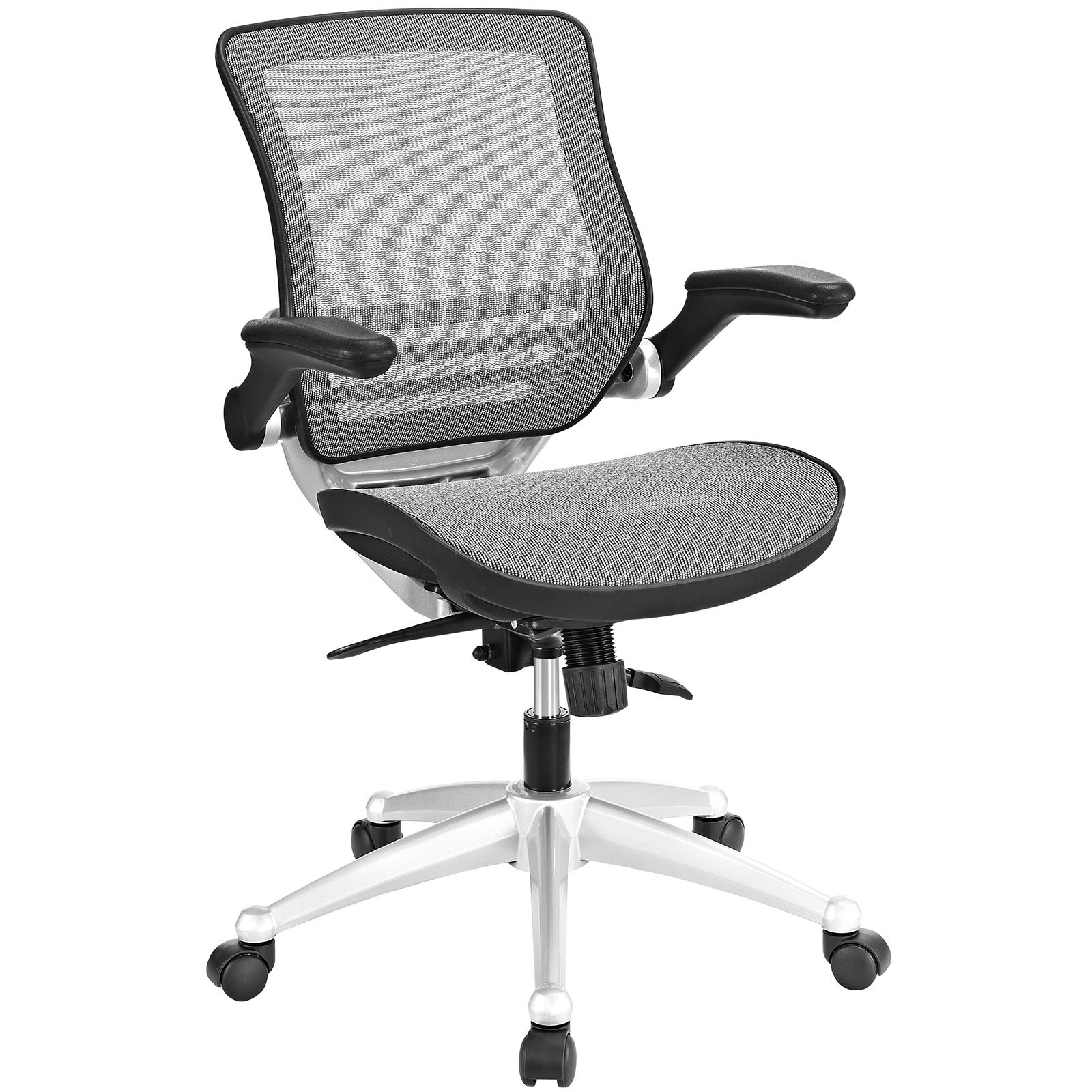 Modway Edge All Mesh Office Chair With Flip-Up Arms In Gray - Ergonomic Desk And Computer Chair
