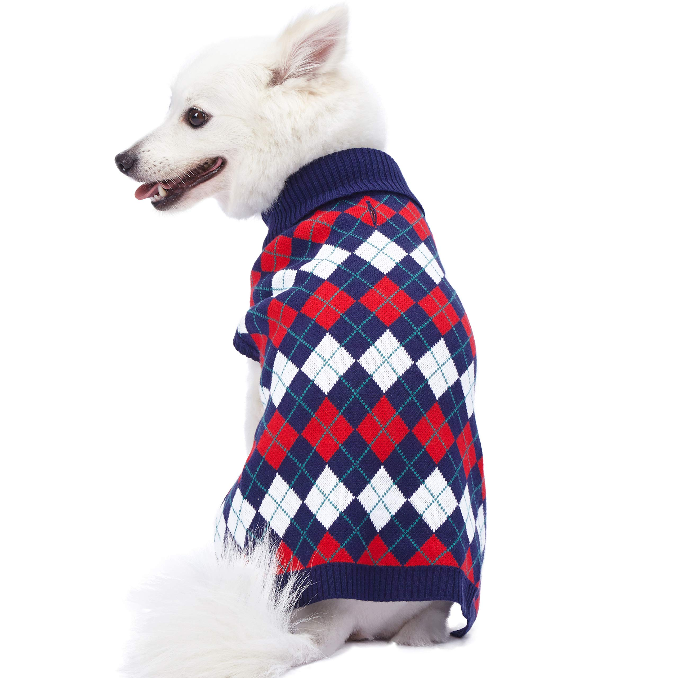 Blueberry Pet 2019 New 5 Patterns Chic Argyle All Over Dog Sweater in Navy Blue, Back Length 20'', Pack of 1 Clothes for Dogs