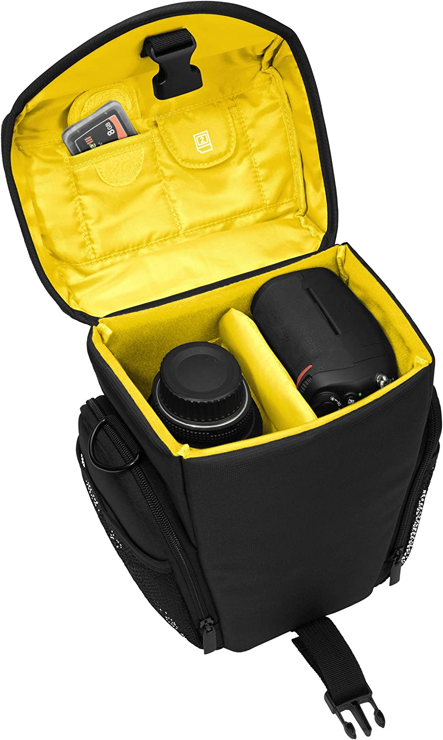 Essex Large SLR Case with Rain Cover and Screen Protector for Nikon D500//D610//D3300//D3400//D5300//D7100//D7200 //Canon EOS 1300D//5D Mark II Camera Yellow
